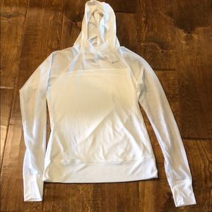 White Nike Dri Fit pullover with hood
